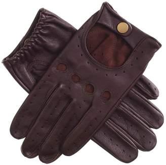 Black Men's Cognac Leather Driving Gloves