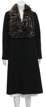 Sofia Cashmere Fox Fur Trim Wool Coat
