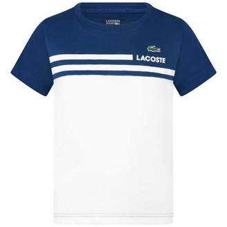 Lacoste SportBoys Blue & White Quick Dry Top