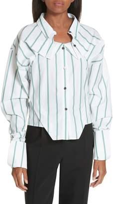 Ji Oh Folded Crop Shirt