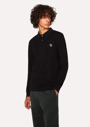 Paul Smith Men's Black Zebra Long-Sleeve Polo Shirt With Purple Tipping