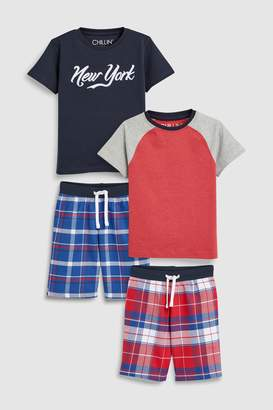 Next Boys Red/Blue Woven Check Pyjamas Two Pack (3-16yrs)