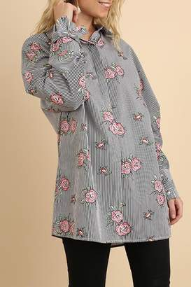 Umgee USA Stripe-Floral Button-Up Blouse