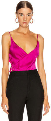 Balmain Spaghetti Strap Wrap Top in Rose Fuchsia | FWRD