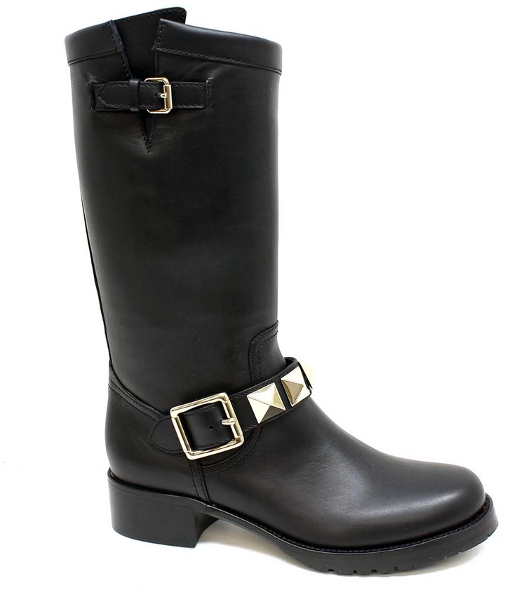"Valentino FWS00404"" Black Leather Pull On Boot With Studs"