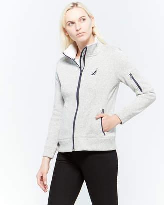 Nautica Solid Fleece Zip Sweater