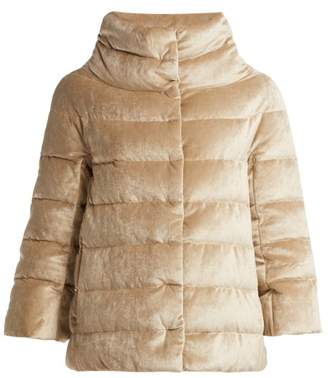 Herno Funnel Neck Quilted Down Velvet Jacket - Womens - Beige