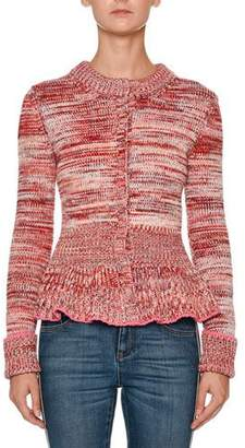 Alexander McQueen Crewneck Long-Sleeve Tweed Peplum Cardigan Sweater