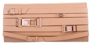 Herve Leger Leather Buckle Clutch