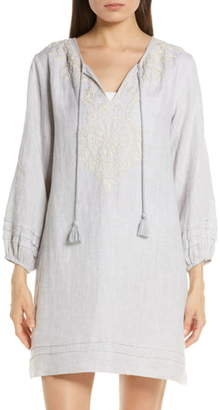 Roller Rabbit Sora Embroidery Detail Linen Cover-Up Dress