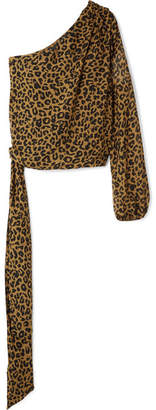 Michelle Mason One-shoulder Leopard-print Silk-chiffon Top
