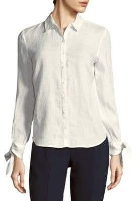 Saks Fifth Avenue BLACK Tie-Sleeve Linen Top