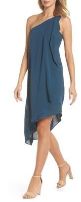 Adrianna Papell Gauzy Crepe One-Shoulder Dress