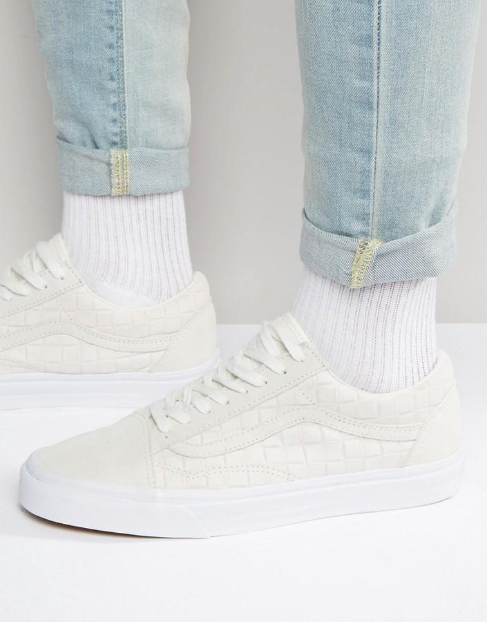 Vans Old Skool Checkerboard Sneakers In White V004OJJT5