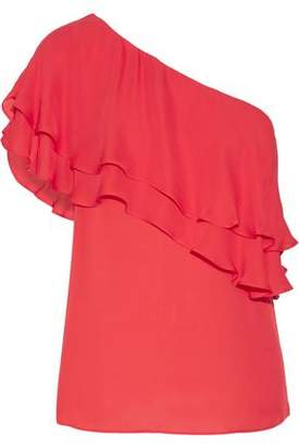 Haute Hippie One-Shoulder Ruffled Silk Top