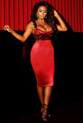 Pink Boutique So Sensual Red Stretch Satin Lace Detail Midi Dress