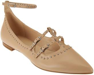 Marc Fisher Leather Pointed Toe Flats w/ Ankle Strap - Aura