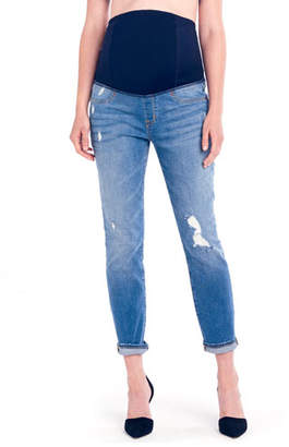 Ingrid & Isabel Maternity Mia Boyfriend Denim Jeans with Crossover Panel