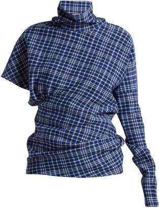 Calvin Klein Asymmetric checked high-neck top