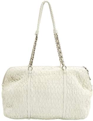 Miu Miu Matelasse White Leather Handbag