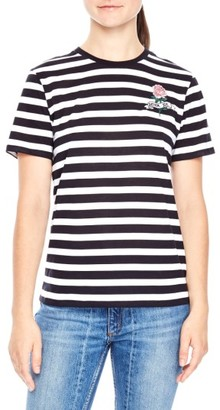 Women's Sandro Tattoo Embroidered Stripe Tee $85 thestylecure.com