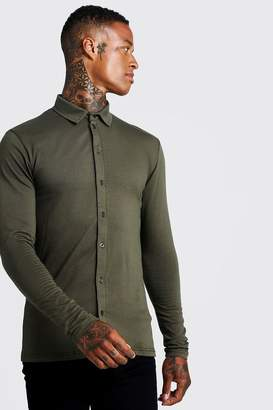 boohoo Muscle Fit Long Sleeve Jersey Shirt