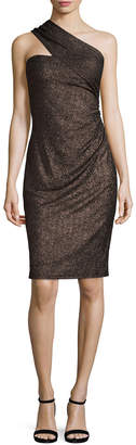 David Meister Metallic One-Shoulder Sheath Dress