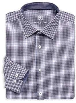 Bugatchi Long Sleeve Woven Cotton Check Shirts