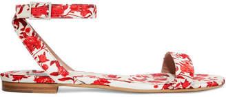 Tabitha Simmons Johanna Ortiz Judy Floral-print Satin-twill Sandals - Red