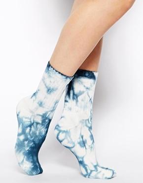 ASOS Tie Dye Ankle Socks - Blue