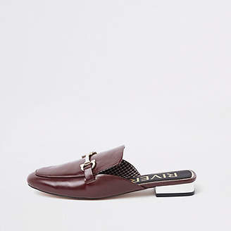 River Island Dark red snaffle backless loafers