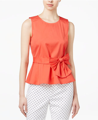 Maison Jules Bow-Detail Peplum Top, Only at Macy's $59.50 thestylecure.com