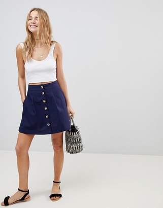 Asos DESIGN Cotton Mini Skater Skirt with Button Front