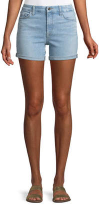 7 For All Mankind Jen7 by Mid-Rise Roll Denim Shorts