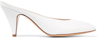 Mansur Gavriel Heel Slipper Leather Mules - White