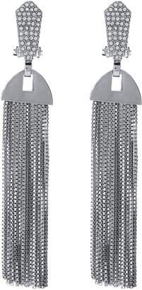 Vince Camuto Silver-Tone Crystal Tassel Earrings