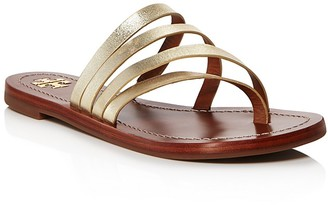 Tory Burch Patos Metallic Leather Thong Sandals $195 thestylecure.com