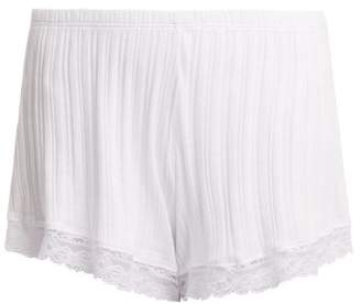 Skin - Berit Lace Trimmed Cotton Pyjama Shorts - Womens - White