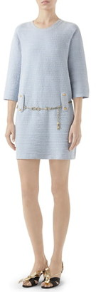 Gucci Belted Cotton Blend Sweater Dress