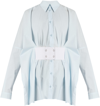 MM6 BY MAISON MARGIELA Point-collar waist-belt cotton shirt $460 thestylecure.com