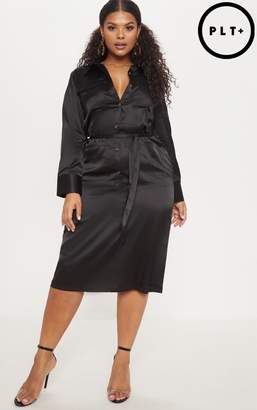 PrettyLittleThing Plus Black Satin Pocket Detail Midi Dress