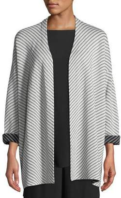 Eileen Fisher Optic Striped Silk/Cotton Cardigan, Plus Size
