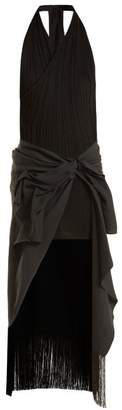 Jacquemus - Draped Asymmetric Stretch Knit And Crepe Dress - Womens - Black
