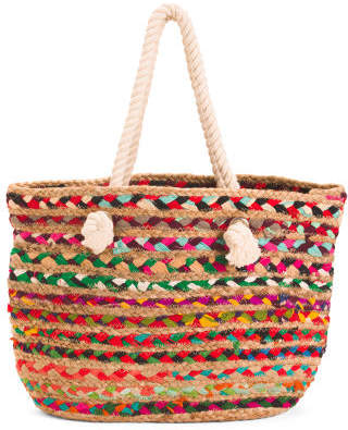 Rope Handle Woven Tote