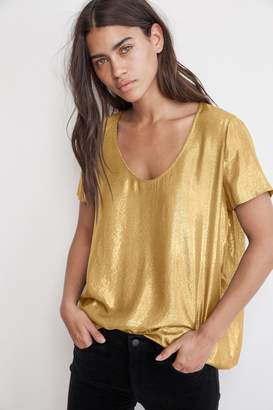 Velvet by Graham & Spencer AGATHA SCOOP NECK LAME TOP