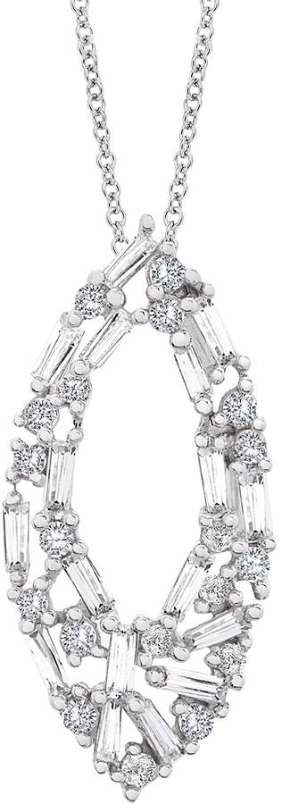 Diamond Round & Baguette Navette Pendant Necklace in 14K White Gold, 0.50 ct. t.w. - 100% Exclusive