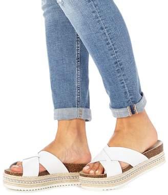 Faith White Leather 'Jarb' Mid Flatform Heel Sandals