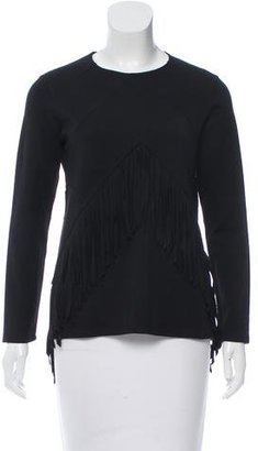 Sandro Fringe-Accented Long Sleeve Sweater $75 thestylecure.com
