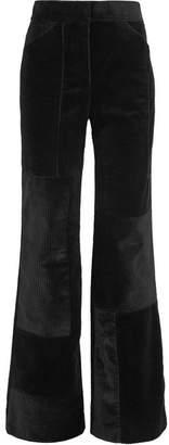 Victoria, Victoria Beckham - Patchwork Corduroy Wide-leg Pants - Black