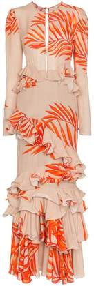 Johanna Ortiz California Dreaming Long Sleeve Palm Print Dress